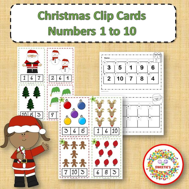 Christmas Clip Cards and Task Cards Count 1 to 10 from Sweetie's