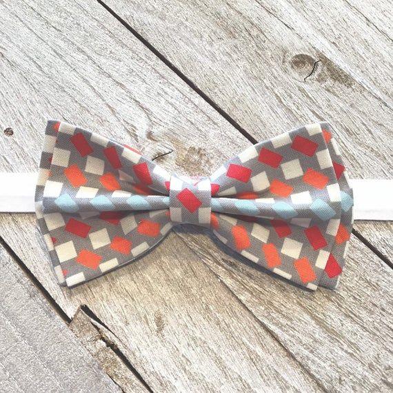New Men/'s Orange Navy Plaid Pre-Tied Cotton Bow TieNovelty Bowtie