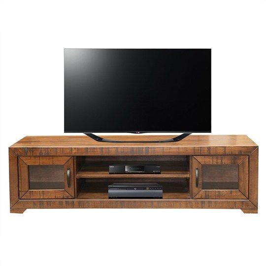 Egypt Solid Hardwood Timber 2 Door Lowline TV Unit - Black Wood Finish