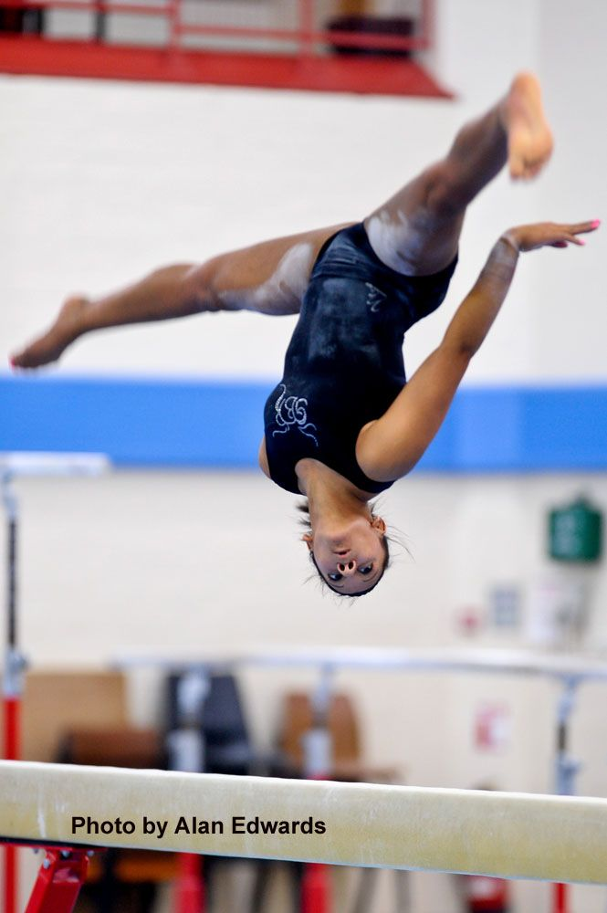 Becky Downie trains on beam