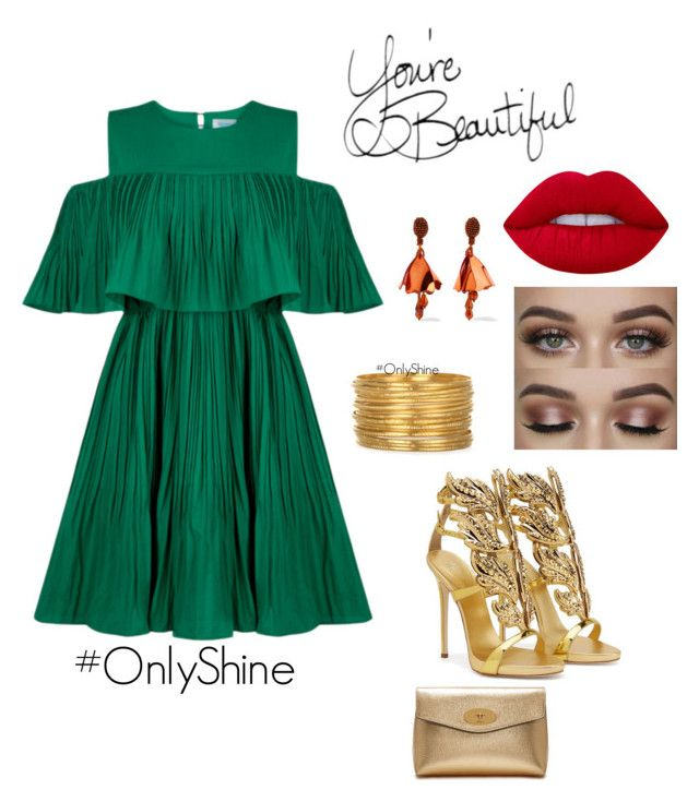 """GreenLove"" by onlyshinerd on Polyvore featuring Jovonna, Giuseppe Zanotti, Oscar de la Renta, Mulberry and Lime Crime"