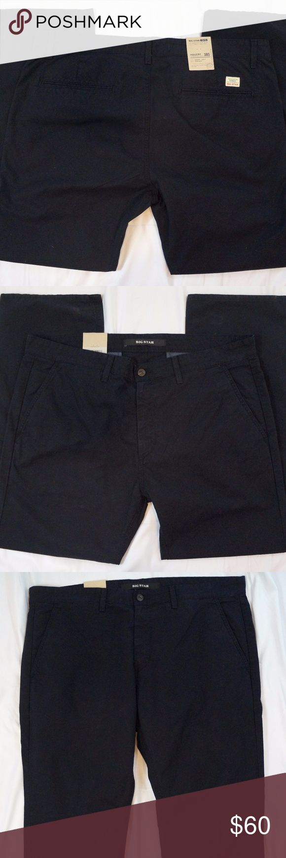"Big Star Industry Straight Leg Chino Size 38 X 30 Big Star Mens Industry Straight Leg Chino Size 38 X 30 New Dark Navy Blue Pants  Hand Measurements: Waist: 38"" Inseam: 30"" Rise: 11.5"" Thigh: 27"" Leg Opening: 9.5""  #1282 Big Star Pants Chinos & Khakis"