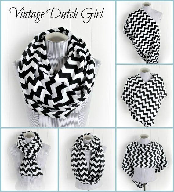 Black and White Chevron Breastfeeding Infinity Scarf, Jersey Knit Loop Nursing Cover. $21.99, via Etsy.
