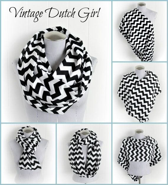Black and White Chevron Breastfeeding Infinity Scarf, Jersey Knit Loop Nursing Cover. $23.95