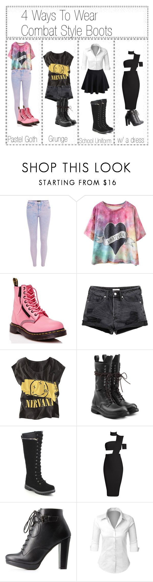 """""""4 Ways to wear Combat Style Boots"""" by xx-fallen-angels-xx ❤ liked on Polyvore featuring River Island, Dr. Martens, Rick Owens, ANNA, Charlotte Russe, LE3NO and WithChic"""