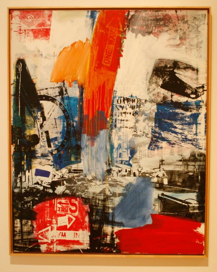 Choke, 1964.  Robert Rauschenberg. I like that his work is sometimes titled, sometimes not, and that the titles are non-sequiturs to what's happening in the work itself. He doesn't try to impose a narrative on you; he dares you to draw your own conclusions (sorry for pun), and most of the time  you can't. And yet you feel revitalized somehow, maybe from the energy in his work.