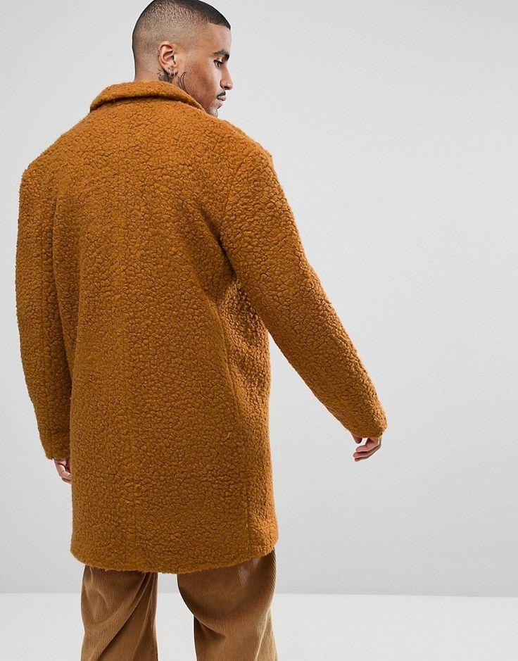 ASOS Relaxed Borg Overcoat in Rust - Orange