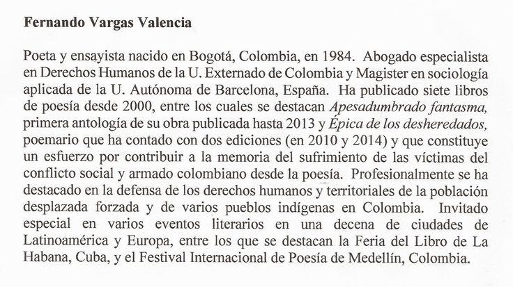 RESEÑA BIOGRÁFICA DE FERNANDO VARGAS VALENCIA PARA DESNUDEZ VERDE.