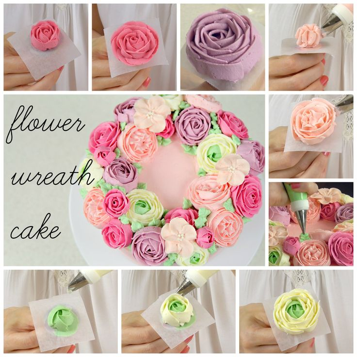 Buttercream Flower Wreath Cake https://youtu.be/1xs0pasigWw