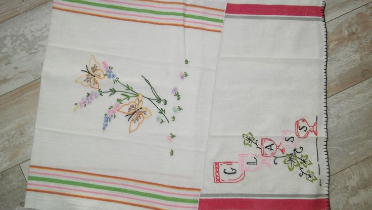 2 Vintage Tea Towel Dish towel Embroidery Stripe Edge 100% cotton 1950s by karensshabby2chic on Etsy