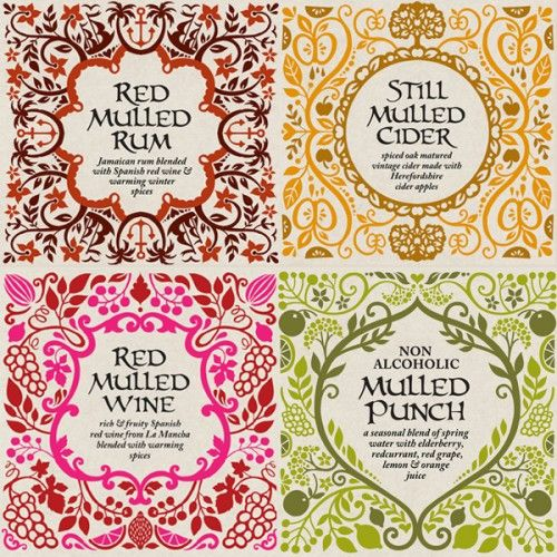 Designed by Michelle Carrick (for Marks and Spencer), illustrated by Kate Forrester - M mulled wine labels