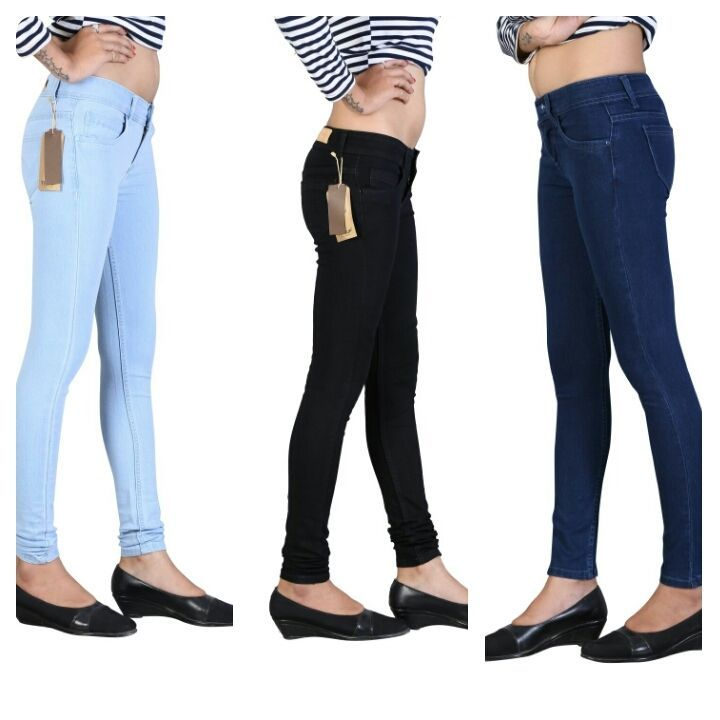 Fasdest Ladies/ Women s Stretchable Slimfit Blue,Black, Ice blue jeans combo