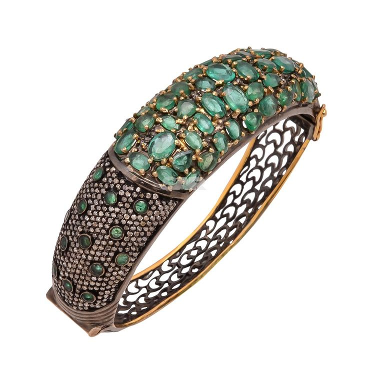 Get Silver Emerald Bangle, Emerald Black Rhodium Bangles from SAR Gems at affordable prices. #Bangles #Bangle #Jewelry #Jewellery