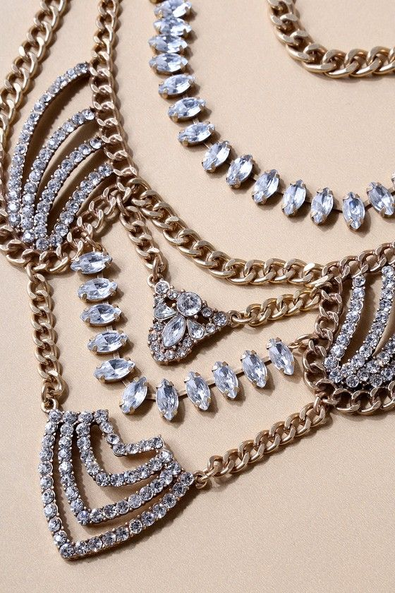 Putting on the Ritz Gold Rhinestone Statement Necklace 2