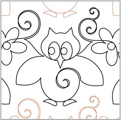 "Whootie-Hoo © 2014 Melonie J. CaldwellA single row is 10"" wide– printed with one row – 144"" longA single owl measuresapproximately 7.75"