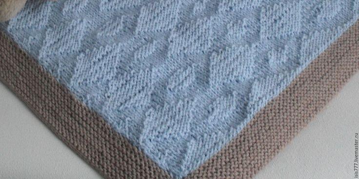 Купить Плед и подушка в коляску - голубой, комплект на выписку, акссесуары, плед вязаный, плед для новорожденного