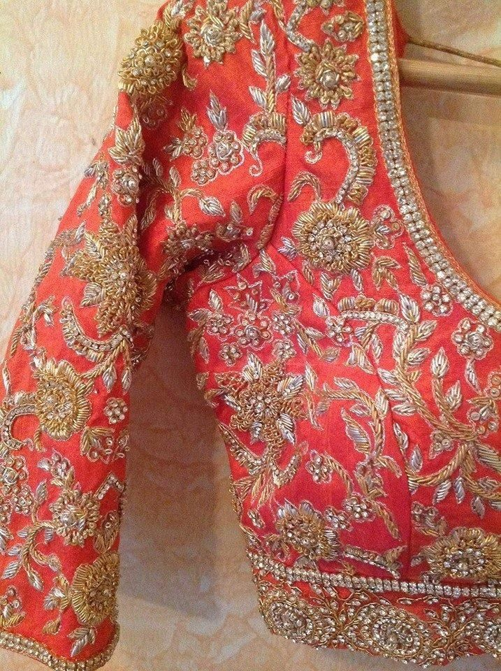 Beautiful #Embroidery on peachy pink #Choli Blouse