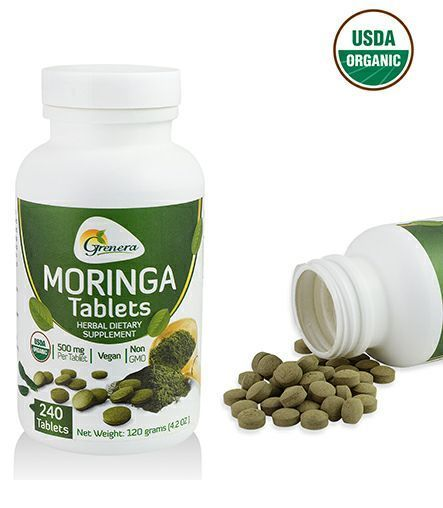 Grenera offers the USDA certified organic Moringa Tablets. The Moringa Tablets are made from the orgainc moringa oleifera leaf powder and organic gum acacia. The weight of single moringa tablet is about 500 mg. We are offering 240 moringa tablets per bottle. The most significant thing is that Grenera's moringa tablets are un-coated which means we do not coat the tablets with any chemical compounds. Its 100% pure, natural and organic certified.  About the product   Organic Certified Moringa…