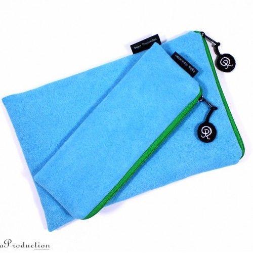 Komplet zamszowy niebieski - piórnik i etui na tablet - Etui - Akcesoria