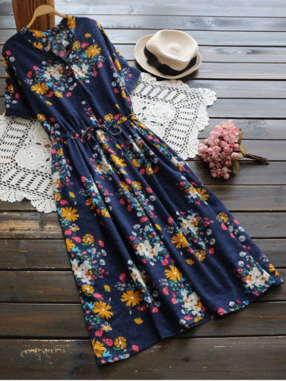 $21.99 Flower Buttoned Drawstring Waist Shirt Dress - CERULEAN ONE SIZE