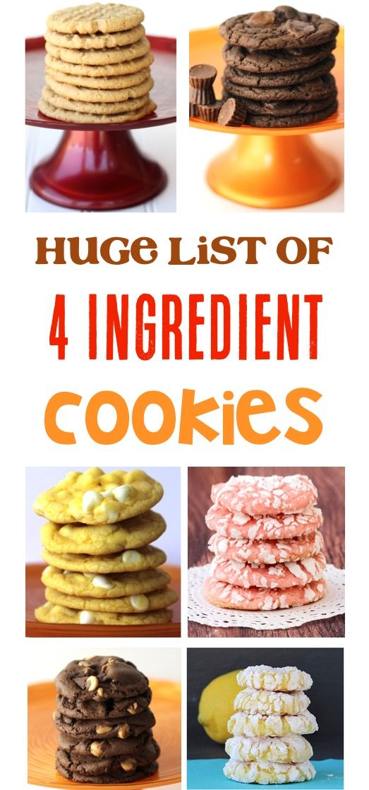 4 Ingredient Cookies! Simple Cookie Recipes your family and friends will LOVE! | TheFrugalGirls.com