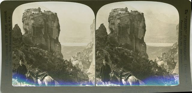 """Monastery of Hagia Trias (Holy Trinity) Meteora Rocks, Northern Greece"" Underwood & Underwood (Details of artist on Google Art Project)"