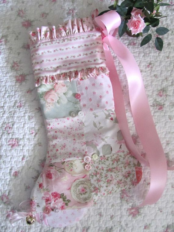 SHABBY Chic Pink ROSES Patchwork & Buttons Christmas Stocking on Etsy, $30.00