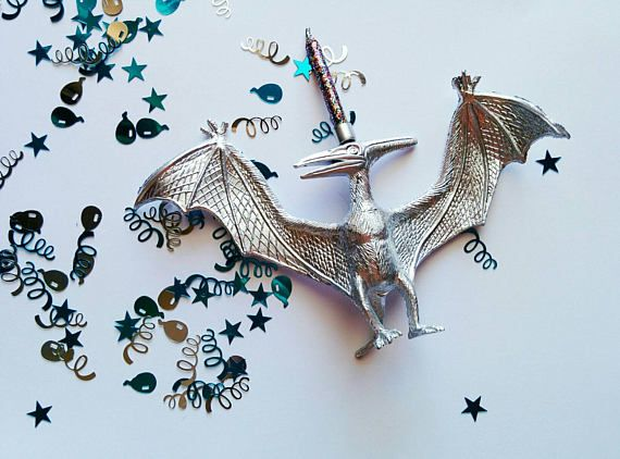 Silver Dinosaur Cake Topper // Pterodactyl // Cake Decor // Silver Birthday Candle // Metallic // Dinosaurs // Birthday Candle Holder