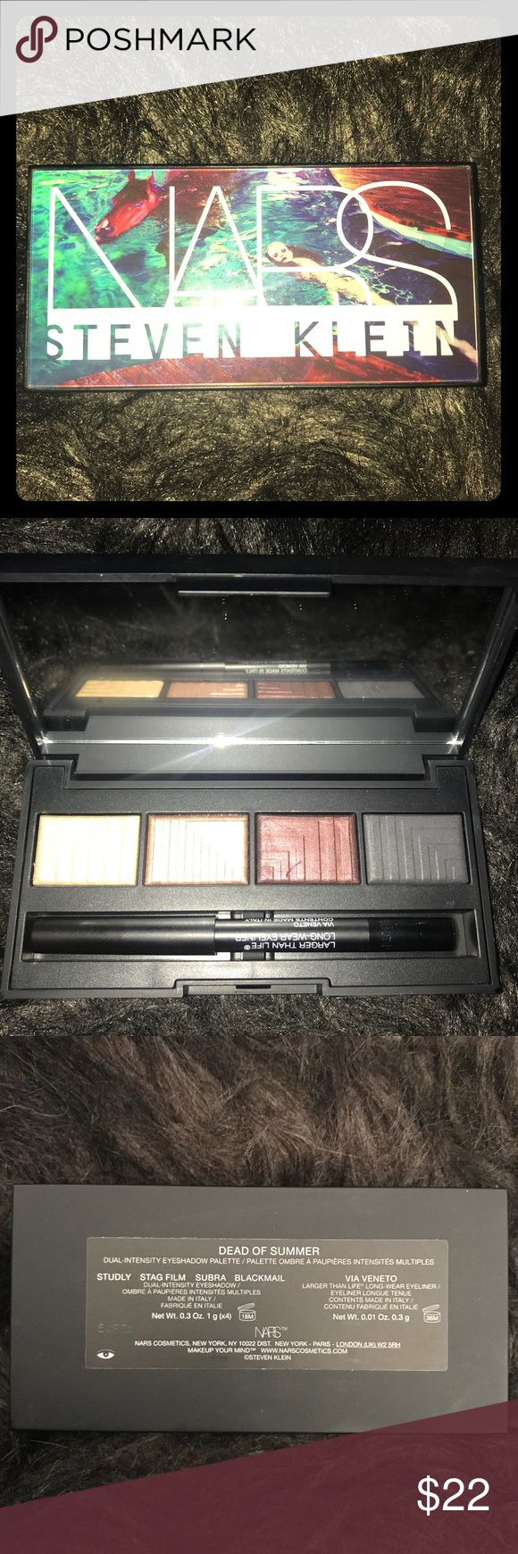 NARS Steven Klein Dead of Summer Plaette NARS Steven Klein Dead of Summer Dual-Intensity Palette. Never used. In great condition. Beautiful casing. Colors include: Studly, Stag Film, Subra, and Blackmail.   Includes Larger Than Life Long-Wear Eyeliner. Color Via Veneto. NARS Makeup Eyeshadow