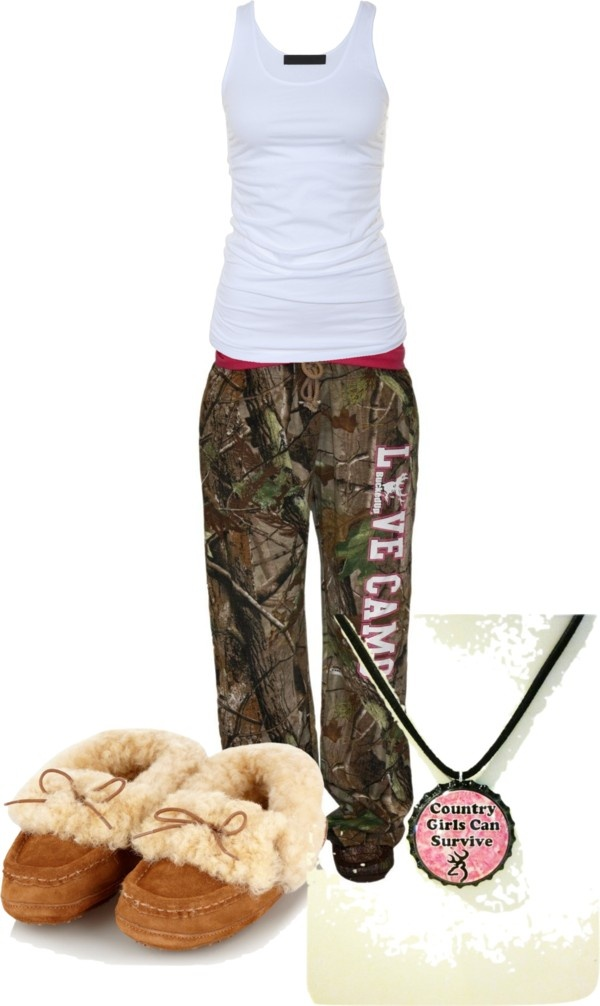 """Pajamas"" by camo-ammo-queen ❤ liked on Polyvore. I have the slippers, pretty sure I could live the rest of my life in this outfit lol:"