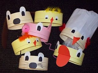 prop ideas for setting the stage to fairy tales, chants, rhymes & more. (Little Red Hen headbands pictured)