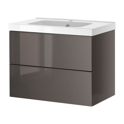 GODMORGON/ ODENSVIK  Sink cabinet with 2 drawers, gray high gloss gray  $309 at Ikea: Ikea Bathroom Vanity, Ikea Godmorgon Bathroom, Bathroom Vanities, Bathroom Sinks Cabinets, Drawers, High Gloss Grey, Bath Ideas, Godmorgon Odensvik Sinks, Bathroom Sink Cabinets