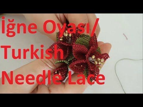 Tesbih, kolye, broş için iğne oyası çiçek nasıl yapılır ? #DIY - YouTube
