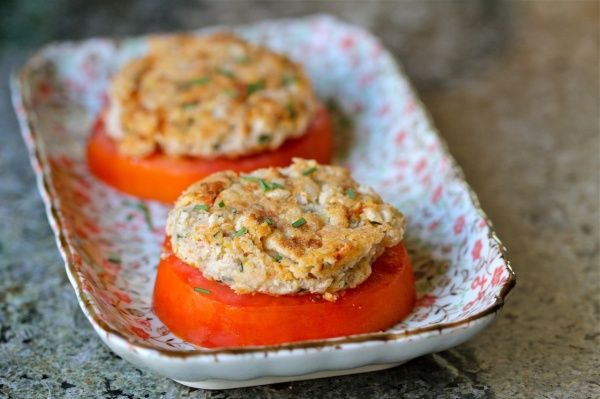White Bean & Chive Cakes over Heirloom Tomatoes