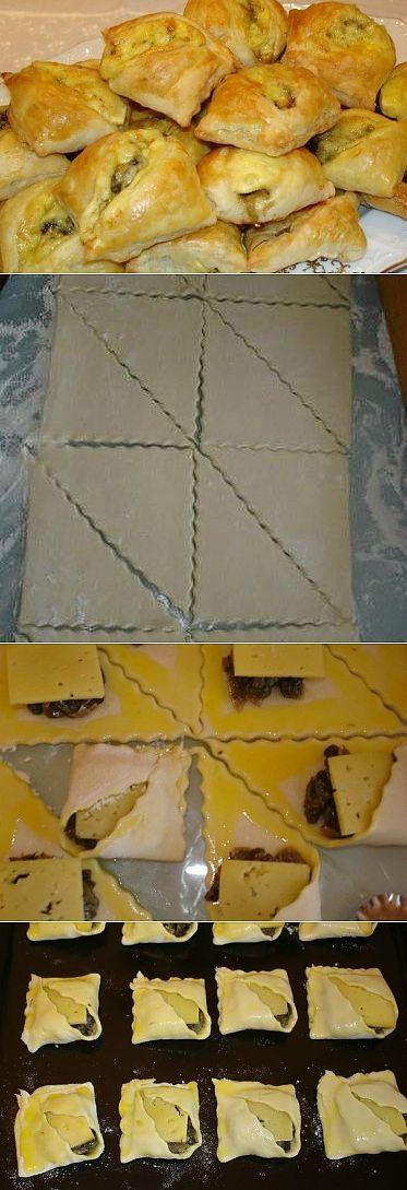 Закусочные слоеные пирожки с грибами и сыром. Рецепт с пошаговыми фото | Домохозяйка