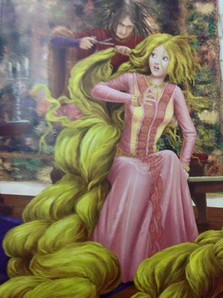 The Wicked Witch cuts off Rapunzel's long golden hair when ...