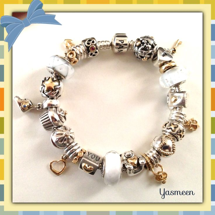PANDORA Bracelet with Beautiful Two Tone Charms and a Hint of White♡ by Yasmeen