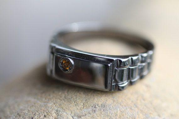 Man's ring/Diamond ring/Unique design/Black Rhodium plated