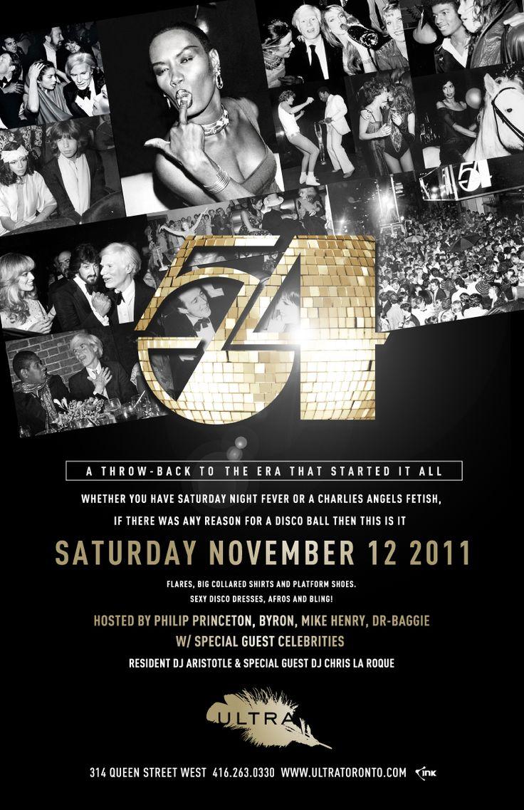 Studio 54 themed invitation