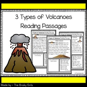 Reading Comprehension pages focusing on the 3 types of volcanoes- shield volcanoes, cinder cone volcanoes, and stratovolcanoes. Each includes a short passage along with an illustration box and multiple choice box. Eco-friendly! 2 passages per sheet of paper.