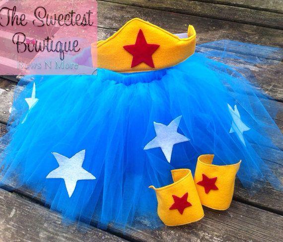 wonder woman Inspired Tutu birthday party Halloween chunky necklace girls tutu dressphoto props on Etsy, $25.00