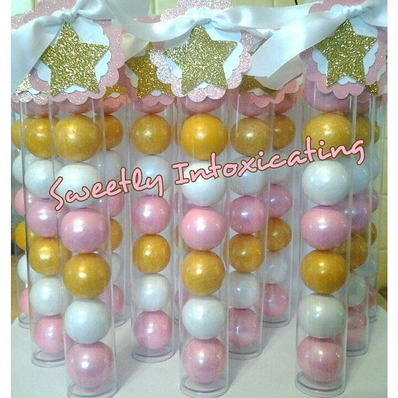 Pink, white & gold theme Twinkle Twinkle Little Star gumball favors. Baby showers ,1st birthday , royal princess party decor