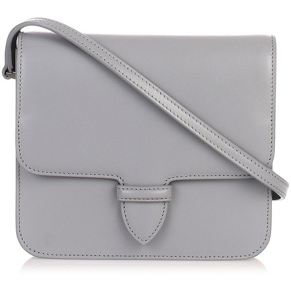 Grey Small Satchel (1,640 CAD) ❤ liked on Polyvore featuring bags, handbags, grey, grey leather purse, grey handbags, genuine leather handbags, gray purse and satchel purses