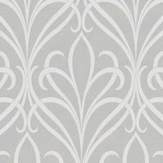 Henderson Interiors Camden Damask Textured Glitter Wallpaper Soft Grey (H980518) - Designer Wallpaper from I love wallpaper UK