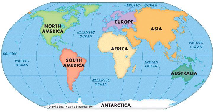 Map Of Seven Continents And Oceans  Free Printable Maps  Map