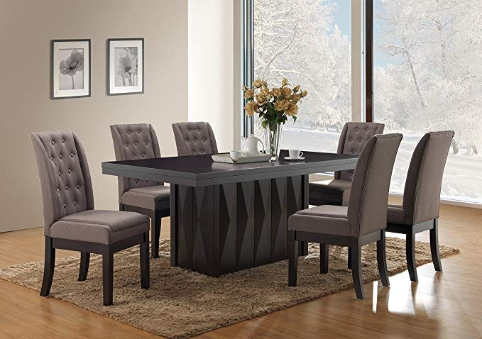 Kings Brand Furniture 7 Piece Rectangular Dinette Dining Room Set Table Side Chairs Dining Fabric Dining Chairs Modern Dining Furniture