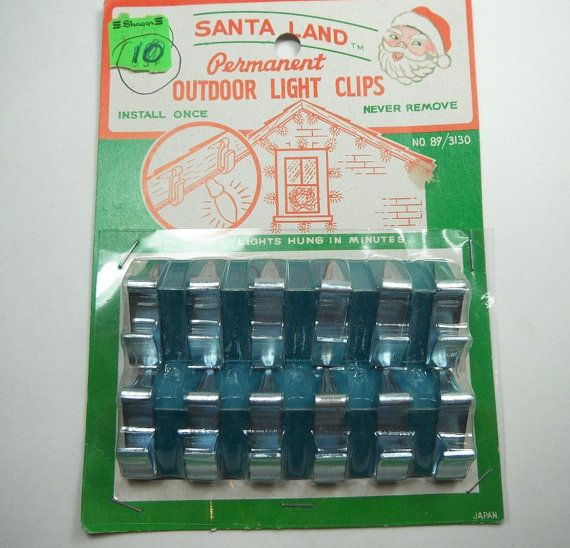 Vintage 1950s Christmas Santa Land Outdoor Light Clips