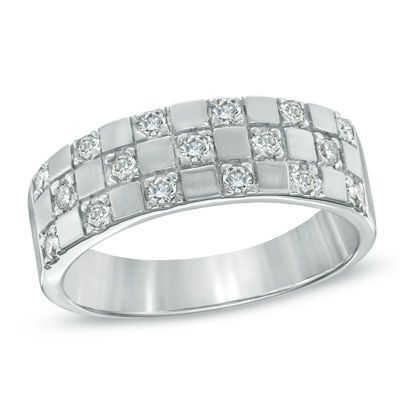 Men's 1/2 CT. T.W. Diamond Checkered Band in 14K White Gold