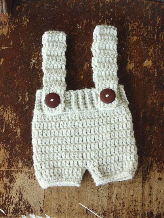 Newborn Crochet Knit Shorts in Heathered Cream, Suspender Shorts, Shortalls, Shorties Photo Prop, Newborn