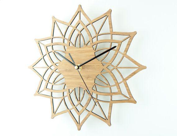 Star Wall Clock Modern Wall Clock Geometric Clock Natural